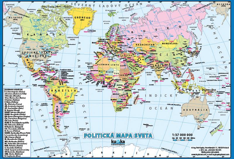 mapa sveta na srpskom Nástenný obraz XL   Politická mapa sveta   SK verzia | Nomiland.sk  mapa sveta na srpskom