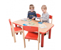 [Stôl s kovovými nohami, obdĺžnik - buková doska a červené kovové nohy]