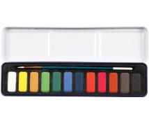 [Akvarelové farvy so štetcom v kazete, 12 ks]