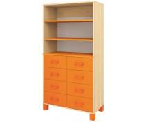 [Skříňka vysoká s policemi a zásuvkami - oranžová]