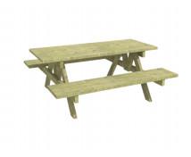 [Dřevěný stůl s lavičkami, pevný ]