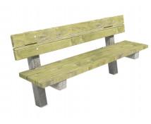 [Dřevěná lavička s opěradlem  a s betónovými nohami, pevná]