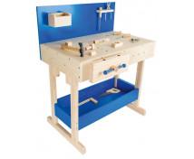 [Masywny stół roboczy - niebieski z akcesoriami]