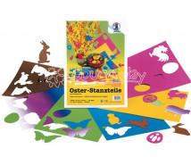 [Velikonoční tvary vysekané do barevného papíru]