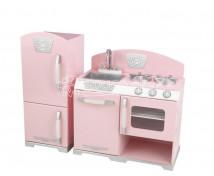 [Ružová Retro kuchynka s chladničkou]