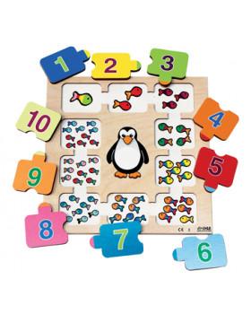 Vkladacie puzzle - Počítajte s tučniakom
