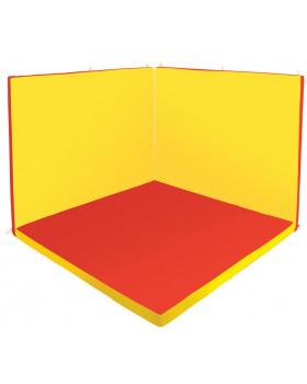Oddychový kútik štvorec - Relax 1 - červena / žltá - veľký