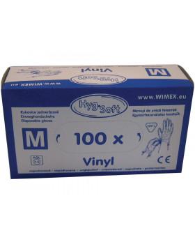 Rukavice vinylové, nepudrované, veľ. M, 100 ks