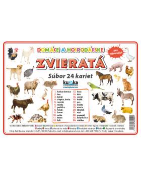 Precvičovacie karty - Zvieratá - dom. a hosp.-slovenská verzia