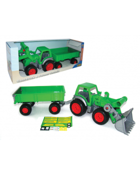 Autíčko s rúčkou - farmársky traktor s vlečkou