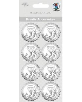Samolepiace medailóniky strieborné - Kalich