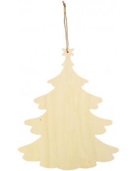 Drevená závesná dekorácia - Vianočný stromček