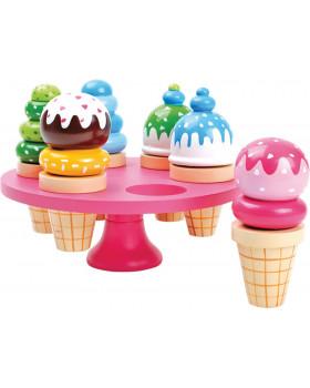 Drevené zmrzliny v stojane