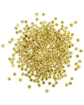 Plastové koráliky - Disky s písmenkami - zlaté