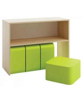 Skříňka na kontejnery a taburetky
