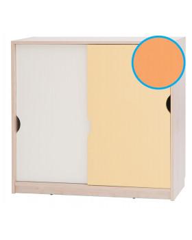 Skříňka střední s posuvnými dvířky - vanilka - oranžová
