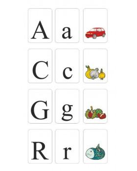 Abeceda na kartách - tlačené písmená