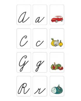 Abeceda na kartách - písané písmená