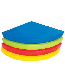 Matrac - štvrťkruh, 90x90x10 cm, modrý