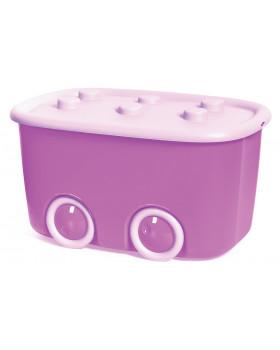 Plastový box na kolečkách - růžový
