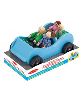 Dřevěné autíčko s rodinkou