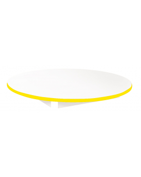 Stolová deska BÍLÁ - kruh 90 - žlutá