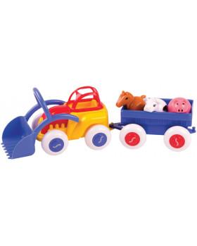 Traktor s vlečkou a zvířatkami