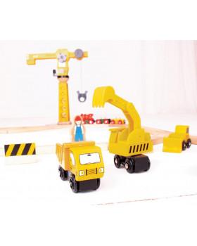 Jeřáb se stavebnimi stroji