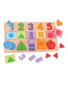 Vkládací puzzle - Čísla, barvy, tvary