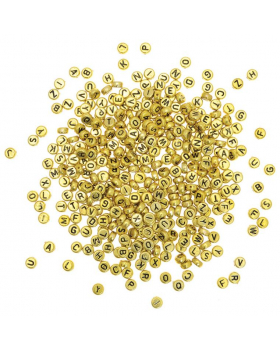 Plastové korálky - Disky s písmenky - zlaté