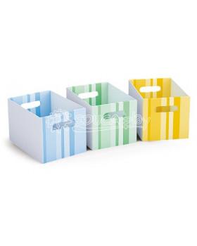 Kartonové zásuvky - 3 ks modrá