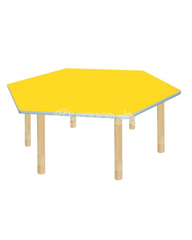 Pastelový stůl - šestiúhelník - žlutý