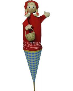 Kornútková bábka - Červená čiapočka s copmi