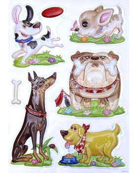 Nástenné nálepky - Plastoví psíkovia