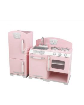 Ružová Retro kuchynka s chladničkou